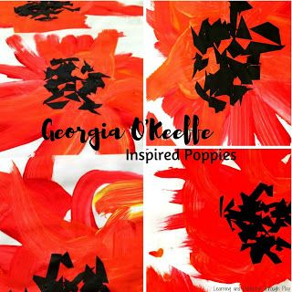 Georgia O'Keeffe Inspired Poppies Remembrance Day for Toddlers and Preschoolers