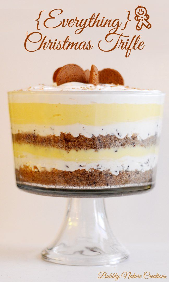 """Layers starting with a gingersnap shortbread,  chocolate chip """"cheesecake"""", eggnog pudding, whipped cream."""
