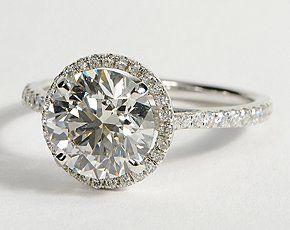 Floating Halo Diamond Engagement Ring in 14k White Gold #BlueNile