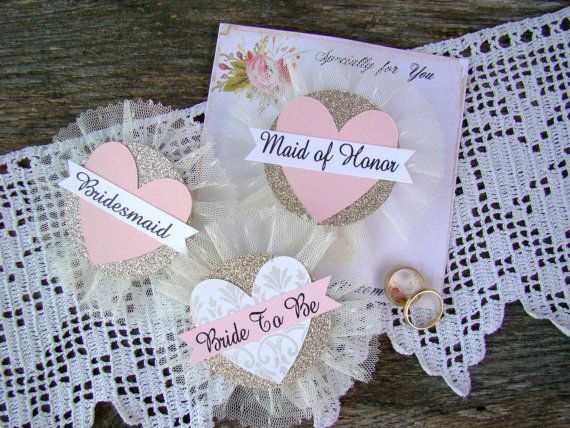 Bride Badge Bride To Be Heart Bride Corsage by TwiningVines