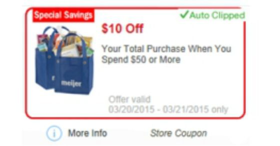 Meijer 10 off 50 Entire Purchase & 20 off Home Goods
