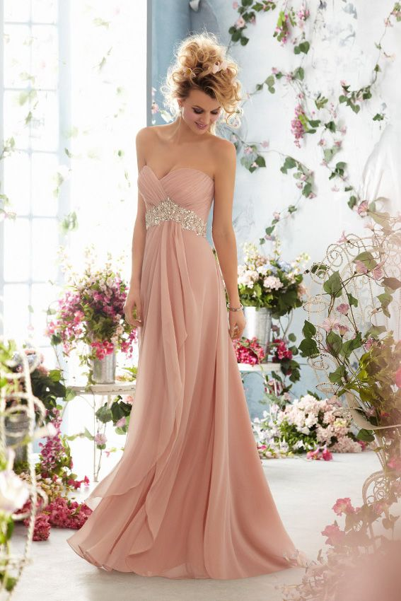 Column Floor Length Sweetheart Beaded Pink Prom Gown