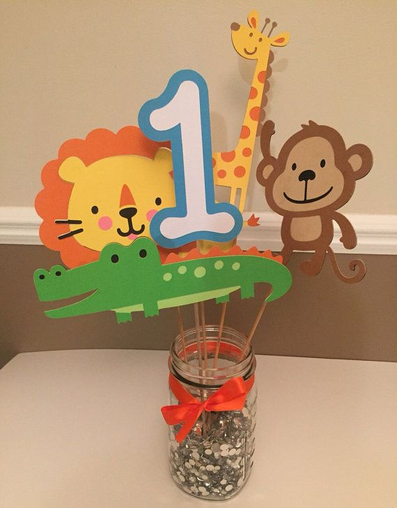 Safari themed centerpiece safari birthday by PartyDecoByRebecca