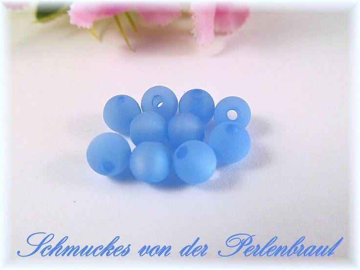 10 Polarisperlen 8 mm matt, Farbe himmelblau von Schmuckes von der Perlenbraut auf DaWanda.com