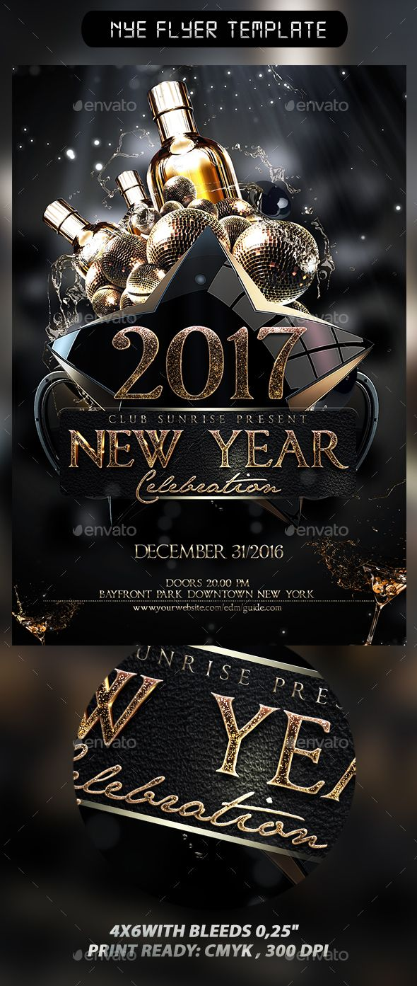 New Year Flyer Template Template PSD #design #nye Download: http://graphicriver.net/item/nye-flyer-template/13528154?ref=ksioks
