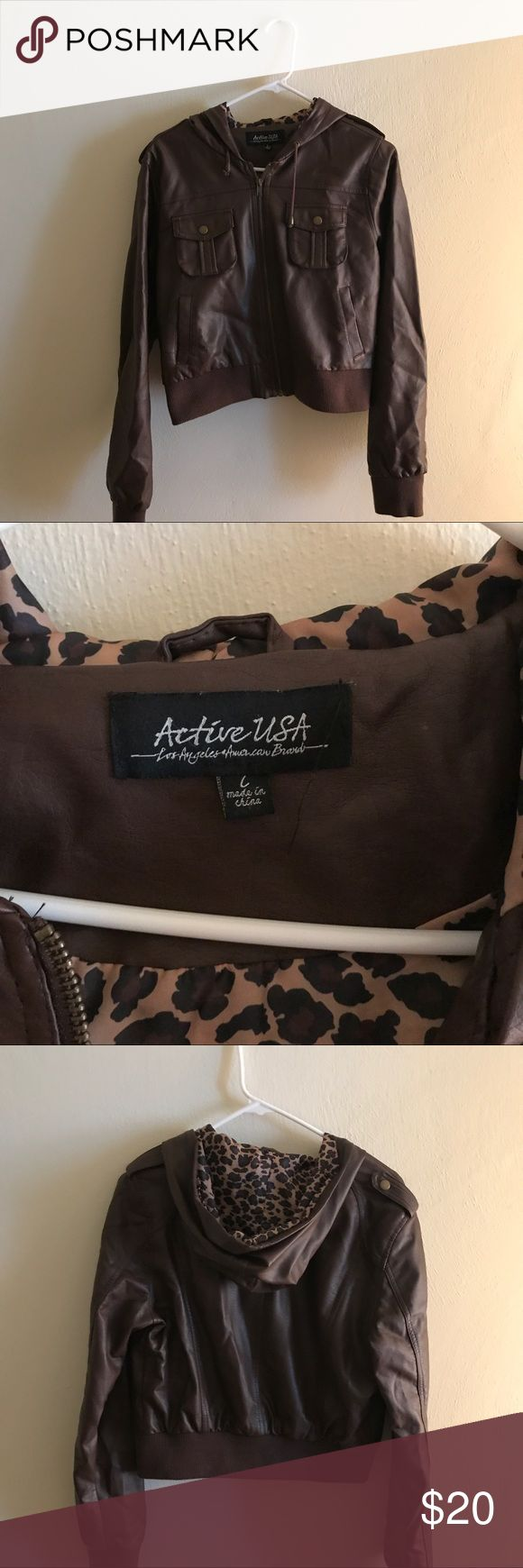 Women's brown faux leather crop jacket Brown faux leather jacket. Size large but runs a little small. Leopard print on the inside. Great condition Active USA Jackets & Coats