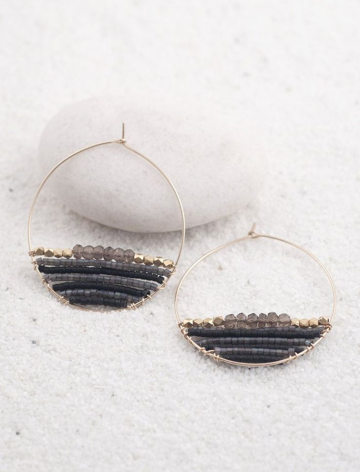 CONA 14K Gold Filled Smokey Quarts Delica® Seed Beads Hoop Earrings