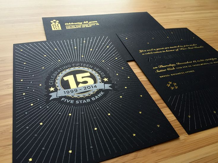 Gold and clear foil, ink-free | Five Star Bank 15 Year Anniversary Invitation Package by Position Interactive