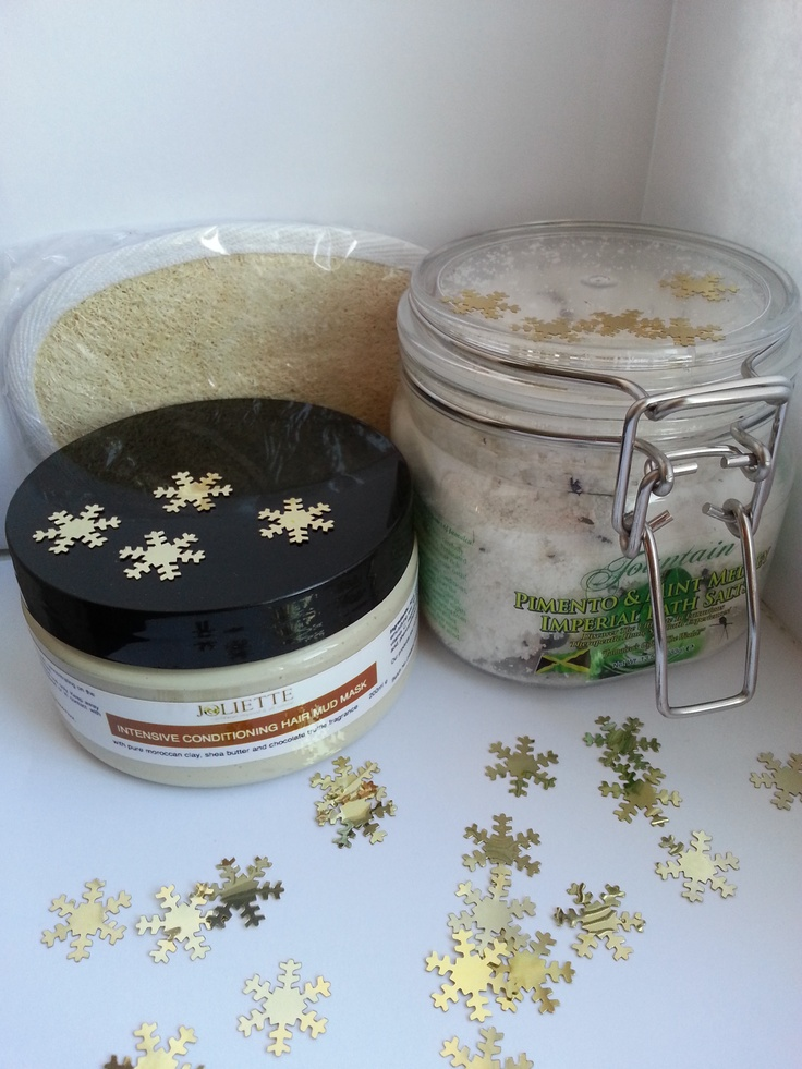 Joliette Hair Mud Mask and Fountain Pimento and Mint Medley Bath Salts.