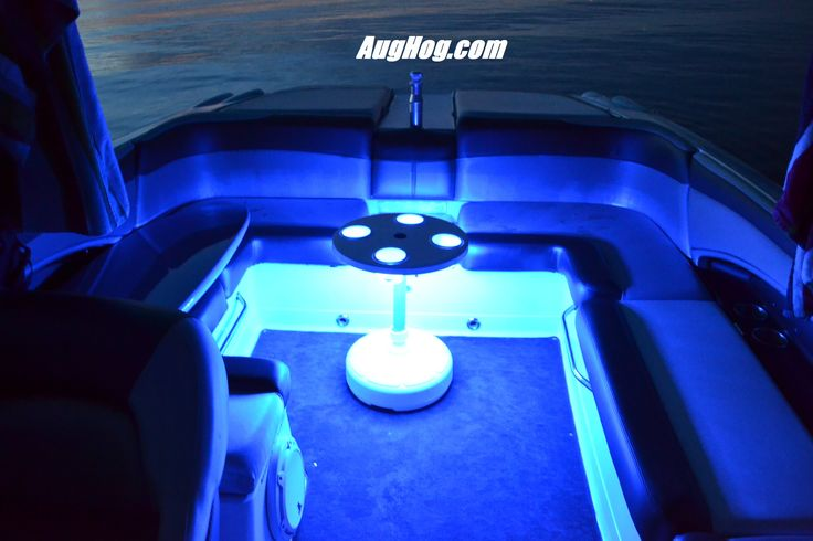 Blue LED light kit on one our our Boat Tables. This one happens to be in a Mastercraft X45 Wakeboard Boat.