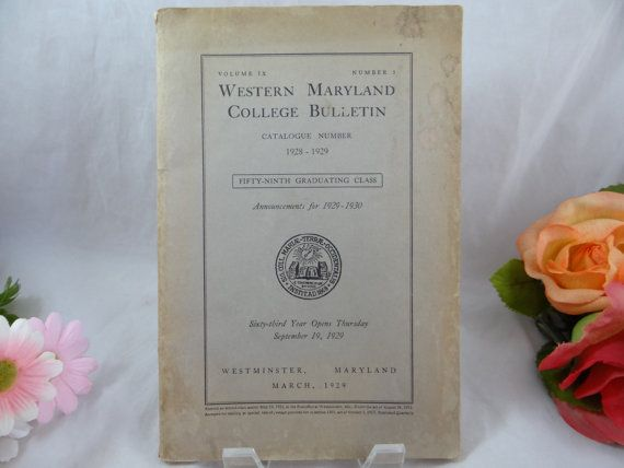 Vintage 1928  1929 Western Maryland College by SecondWindShop, $19.50