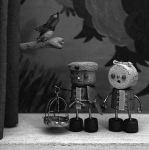 版画家・コルク人形作家 片岡まみこ|青い鳥5 / 12 「コルク人形展1998」原宿・ROCKET 1998年
