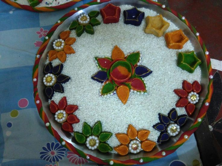 #aarti #thali #aanaj #cereals #decore #diy #craft #diya #puja #ideas #handmade #ganesh #indian