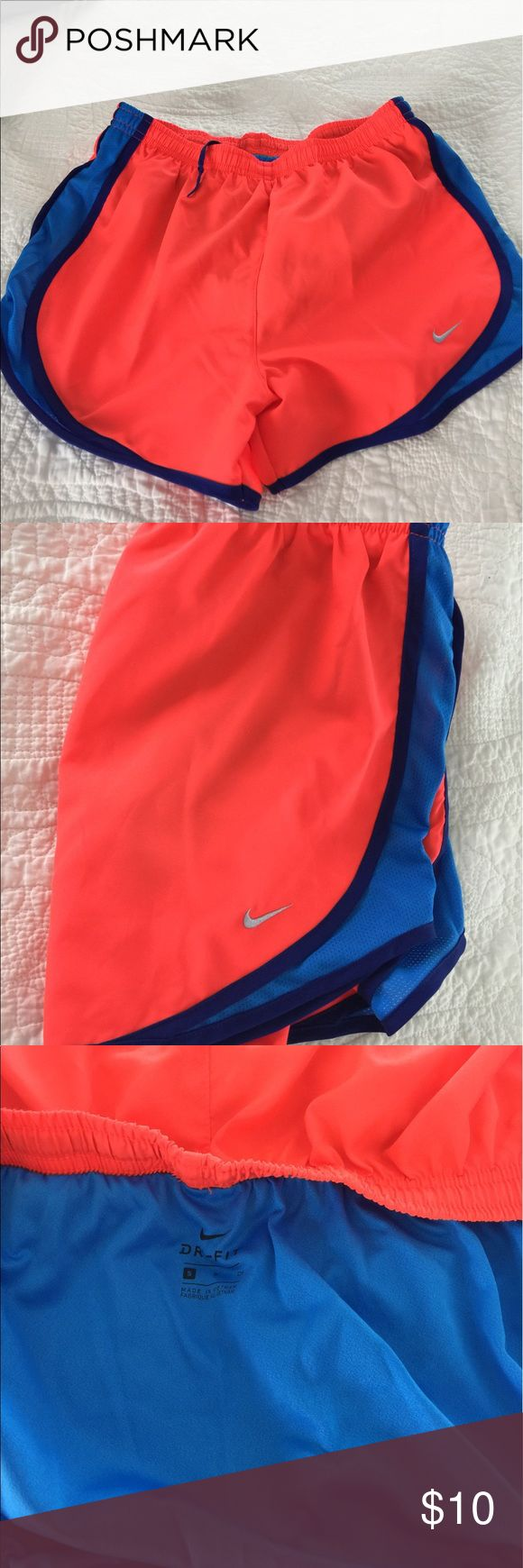 Nike Running Short W/Mesh Underwear NWOT Bought these at the Nike Store and popped tags without trying on. Too big..Never worn Nike Running Shorts. Cute colors for the summer. Nike Shorts