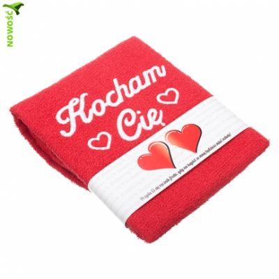 """Ręcznik  z  napisem Kocham Cię dla bliskiej osoby:  """" Przyda Ci się ręcznik frotte, gdy na kąpiel ze mną będziesz mieć ochotę """".     Kolor : czerwony  Materiał : 100 % bawełna  Rozmiar : 50 x 100 cm"""