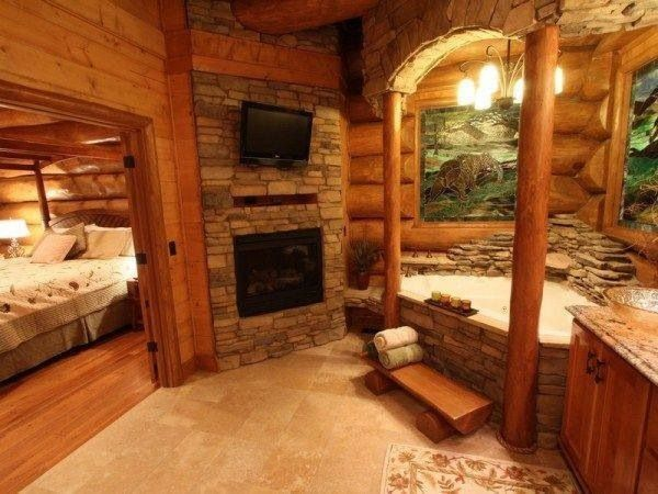 17 best images about log cabin interior design ideas on for Log cabin bathroom pictures