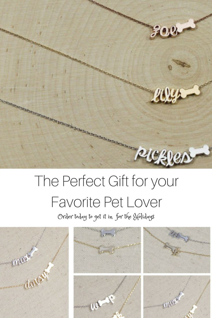 Pet name necklace, personalized pet jewelry, pet lover gift idea, gift ideas for pet lovers {aff}