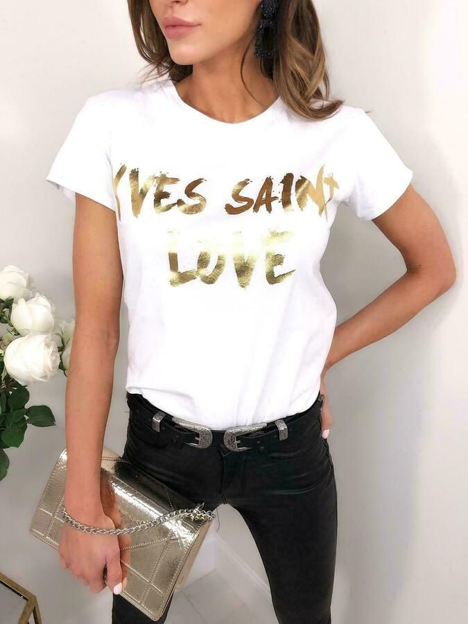 "Women/'s Ladies Short Sleeves /""Yves Saint Love/"" Gold Foil Causal T-Shirts Top"