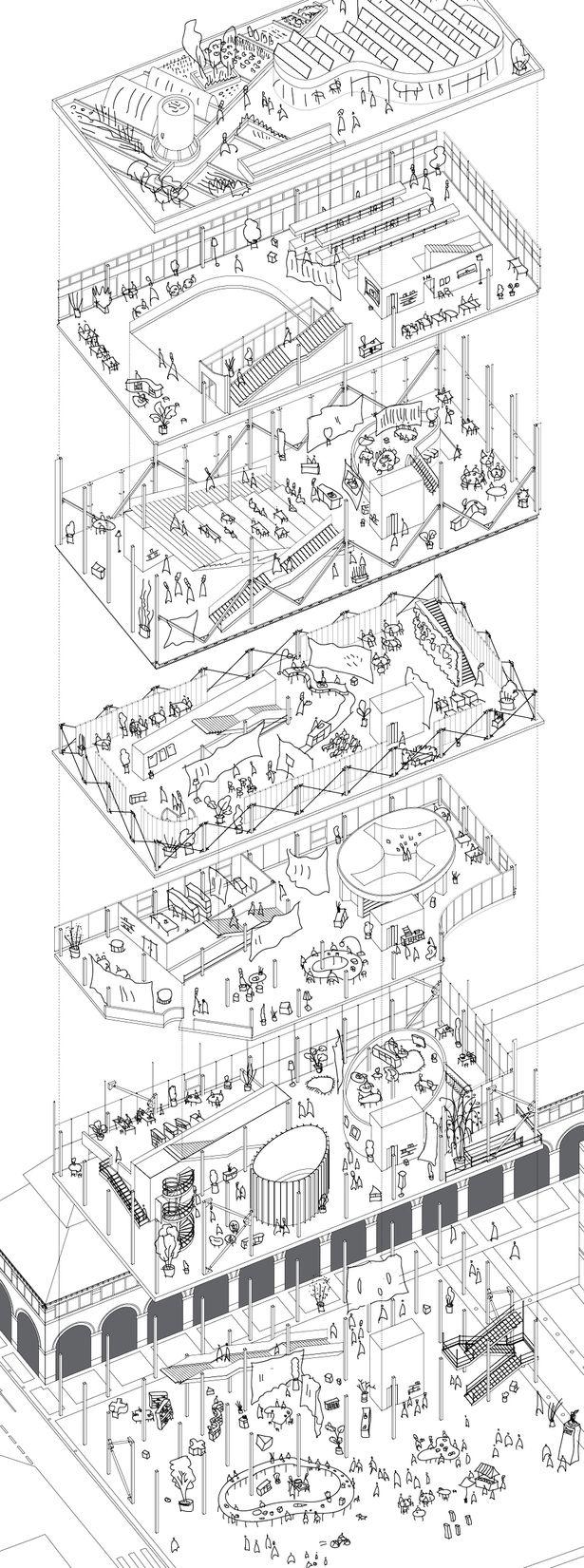 Hình chiếu trục đo tách lớp không gian spatial axonometric layout paris market lab