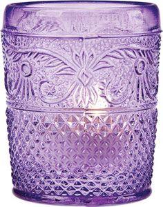 Purple Vintage Glass Candle Holder (embossed design)