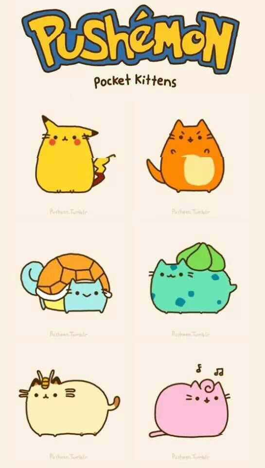 Pusheen Pokemon characters *giggle* :3