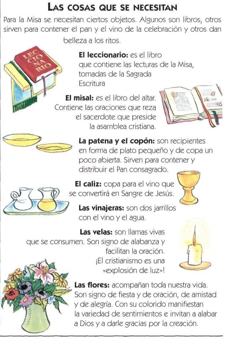 LAS COSAS QUE SE NECESITANPara la Misa se necesitan ciertos objetos. Algunos son libros, otrossirven para contener el pan ...