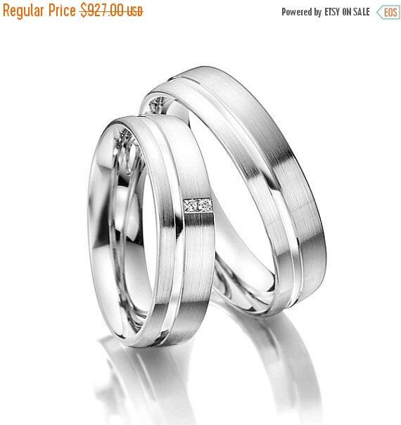 ON SALE Matching Wedding Bands His and Hers With Two Small Diamonds by FirstClassJewelry on Etsy https://www.etsy.com/listing/226710732/on-sale-matching-wedding-bands-his-and
