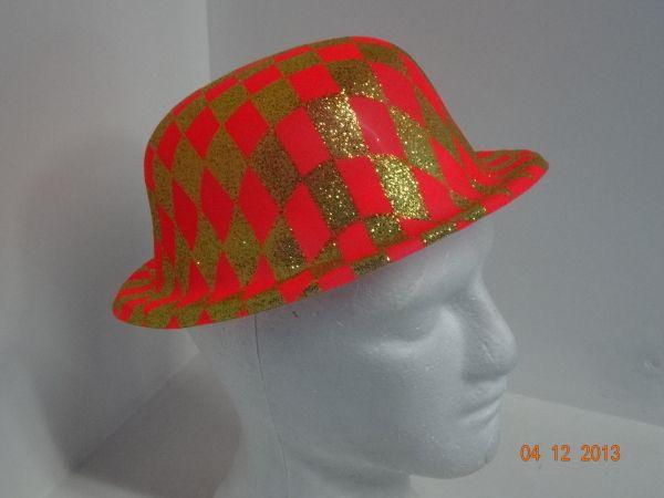 Sombrero Ref. Bombín escarchado color naranja neón.   FiestasTematicasArmenia  PinateriasArmenia  bd96fdb7692