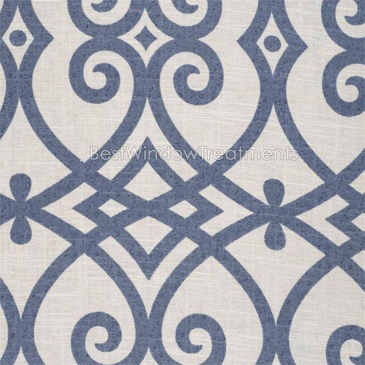 Katherine In Indigo Blue Scroll Tile Pattern Linen