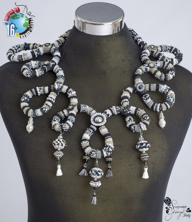 B.O.T.B 16 Embroidery Rope Necklace Five shades of grey