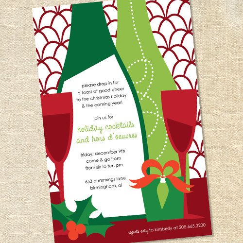 sweet wishes holiday wine tasting cocktail party invitations printed digital file also available from sweet wishes stationery - Cocktail Party Invitation Wording