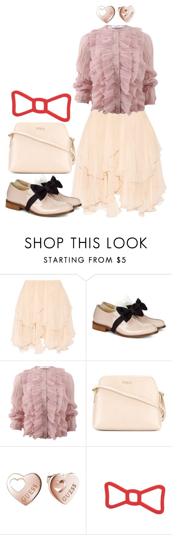 """Bows Shoes"" by anifitria-af ❤ liked on Polyvore featuring Chloé, Pokemaoke, Givenchy, Furla, GUESS and bows"