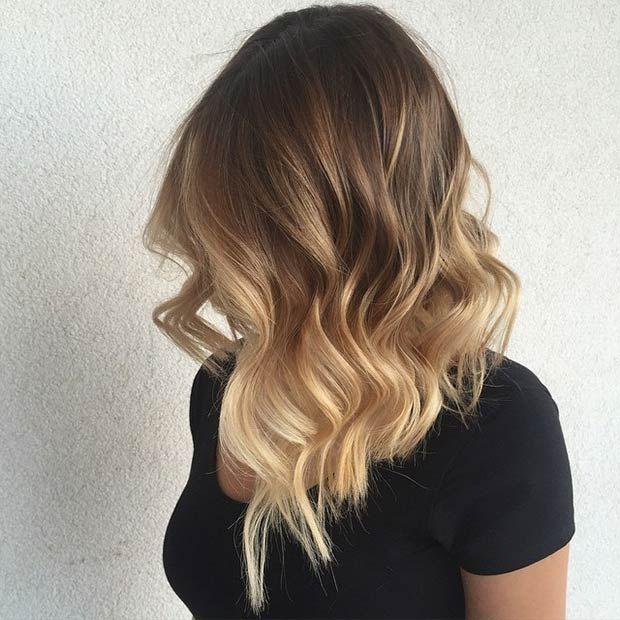 Wavy Long Bob + Blonde Balayage lovely color transition