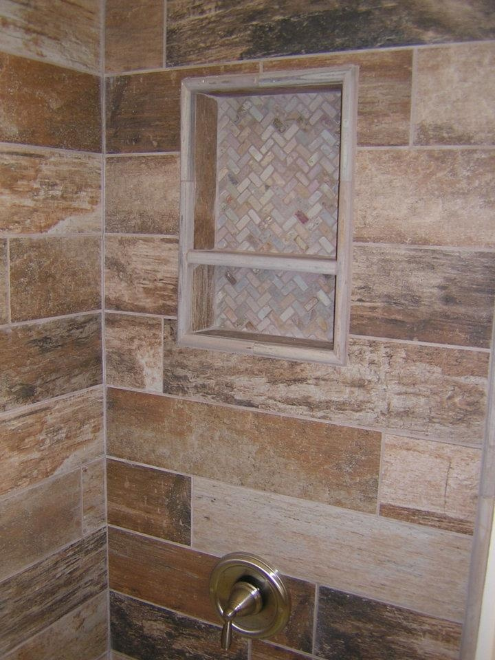 plank tile bathroom rustic plank style porcelain tile with slate niche our 13995