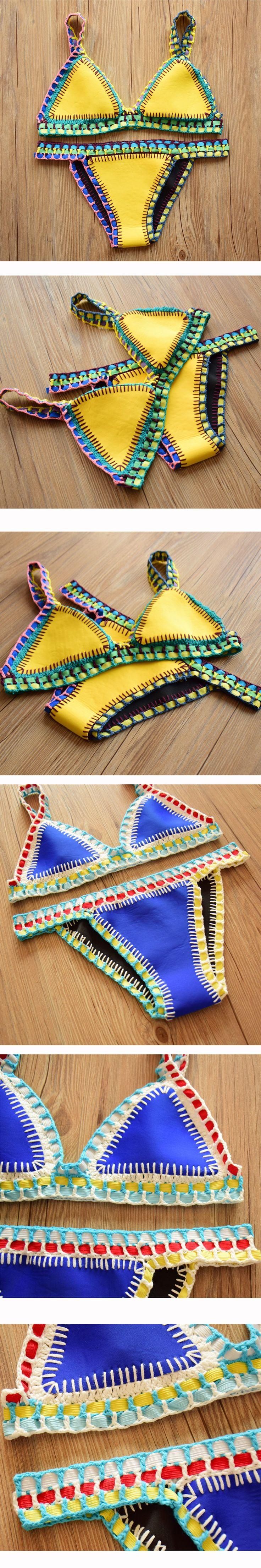 2016 Crochet Women Swimwear Bikini Neoprene Bikinis Swimsuit Maillot De Bian Bathing Suits Plus Size Triangle Bikini Brazilian $22.9
