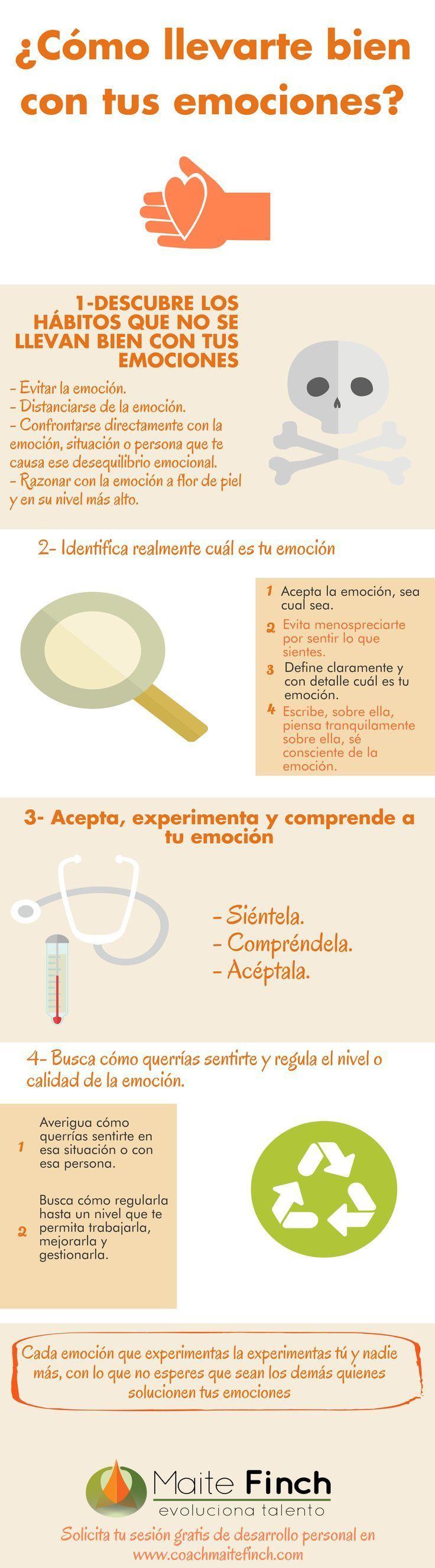 """Hola: Compartimos una infografía sobre """"Como llevarte Bien con tus Emociones"""". Un gran saludo. Fuente: Maite Finch Enlaces de interés: 12 Puntos Importantes sobre las Emociones Identi..."""