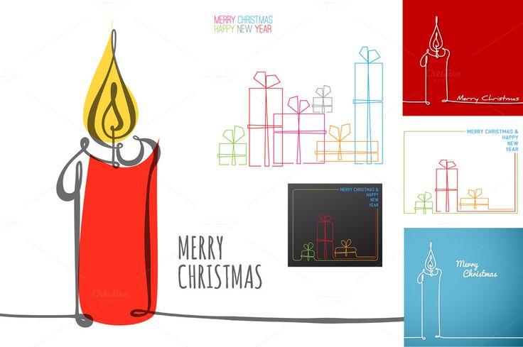 6 Xmas cards - continuous drawings by Orson on Creative Market