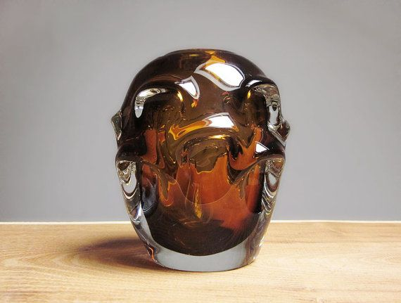 Amber blown glass vase by Skrdlovice (Sklo Union)