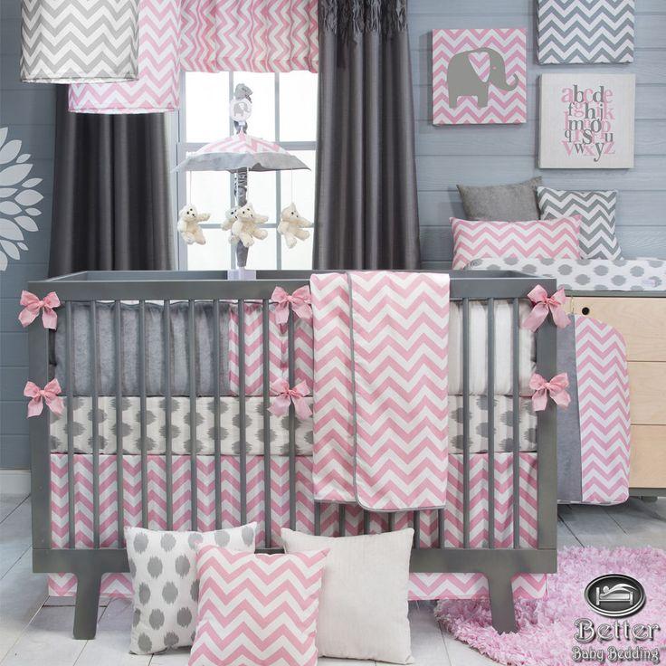 Baby Girl Pink Gray White Chevron Zig Zag Infant Crib Nursery Quilt Bedding Set #GlennaJean