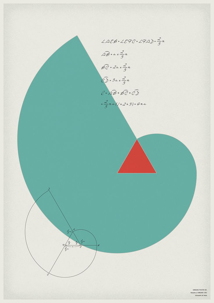 単位展「算額ポスター」(2015年) #KenOkamoto 江戸時代、数学の問題や解法を額や絵馬に記し神社や寺院に奉納した「算額奉納」をテーマに、ポスターを制作しました。算額奉納で記されている日本独自に発達した数学「和算」を現代の数式に置き換え、数式を計算すると自ずと出来上がる図形をそのままポスターに配しています。