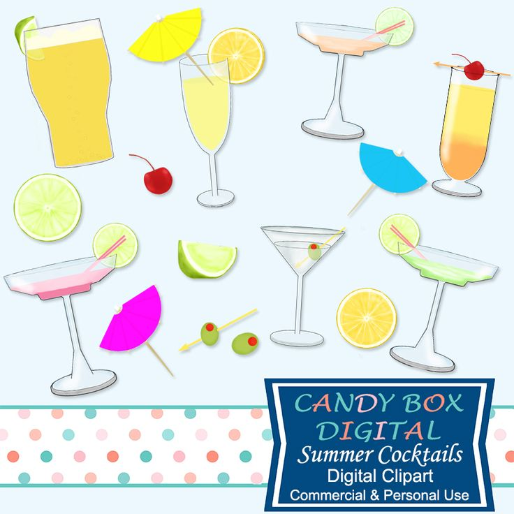 What's in the Candy Box: NEW Summer Cocktail Drinks Clip Art. These 16 high quality summer cocktail images are too fun to pass up. They're great for creating a playful scrapbook page or in announcements, invitations, or to add a happy feeling to a summer blog or website.