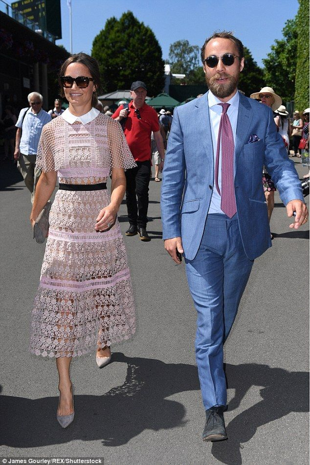 Pippa Middleton, 33, arrived at Wimbledon in a a daring lace dress by Self Portrait, showing off her slim legs and tiny waist, accompanied by her younger brother James, 30.