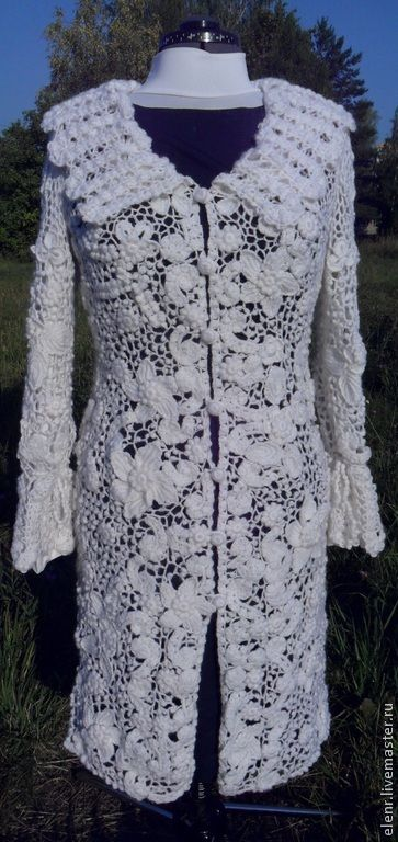 """Купить Кардиган """"Винтаж"""" - белый, цветочный, кардиган, ручное кружево, ирландское кружево, шерсть и акрил"""