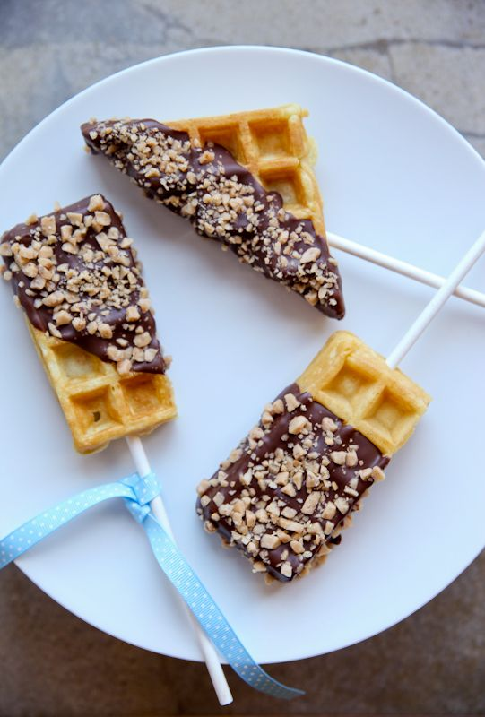 Chocolate Toffee Waffles On-A-Stick | The Daily Dish Made these for a bake sale but never actually tasted them. I did get rave reviews however and they are pretty easy to make. <3 #done it:)