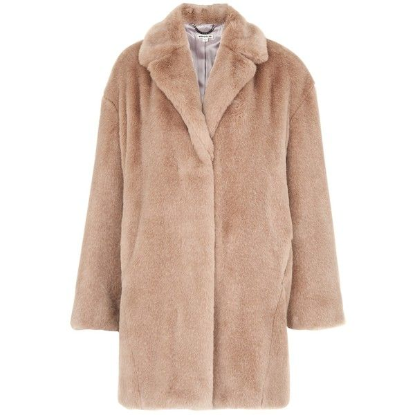Whistles Faux Fur Cocoon Coat, Neutral ($355) ❤ liked on Polyvore featuring outerwear, coats, beige coat, leather-sleeve coats, imitation fur coats, cocoon coat and long sleeve coat