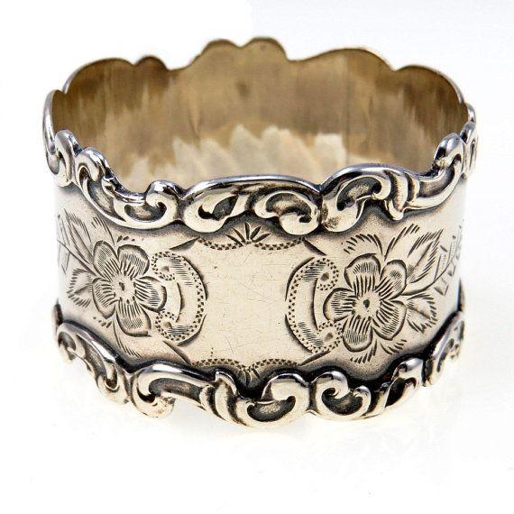 Antique Sterling Silver Victorian Napkin Ring Hand by BijouxBela, $98.00