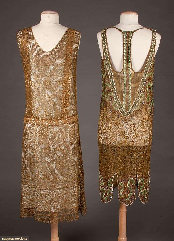Two Gold Lace Flapper Dresses 1920 1920s Fashion Deco Dress Art Deco Dress
