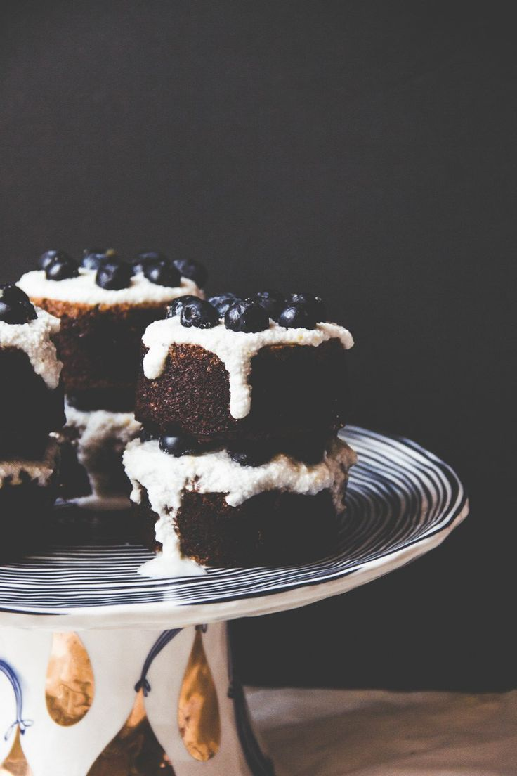 Blueberry Poppy Seed Almond Cakes with Coconut Cream | The Baker who Kerns