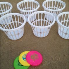 See how many times it takes you to get the frisbee in the laundry basket. Great campsite game to play! The one with the lowest score is the winner!