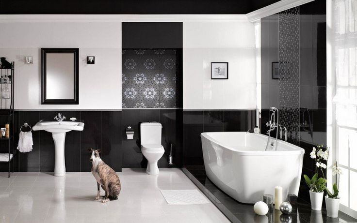 Carrelage salle de bain noir et blanc duo intemporel for Tres petite salle de bain moderne